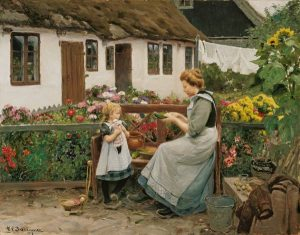 H._A._Brendekilde_-_At_the_garden_bank_(1913)